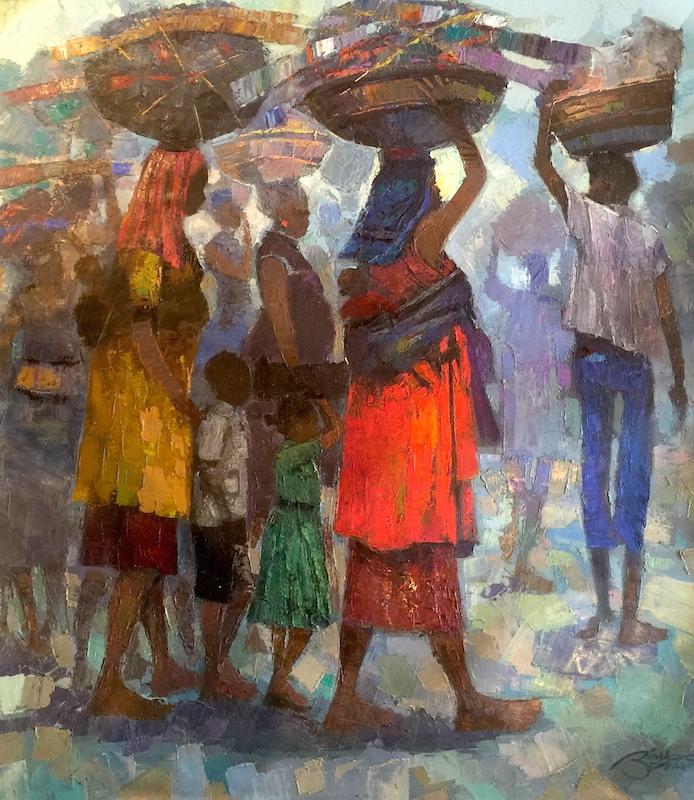 Bimbo Adenugba, Internally Displaced People (IDP) Series 2, Oil on canvas 47x41 site