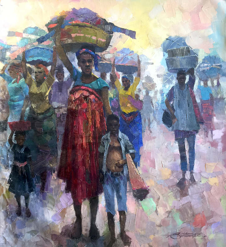 Bimbo Adenugba, Internally Displaced Peoples (IDP), Oil on canvas 41x47 site