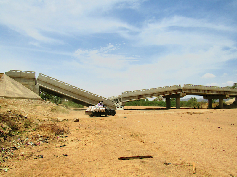 Bridge blown up by Boko Haram, Gada-Kuzun, Borno-Adamawa States site