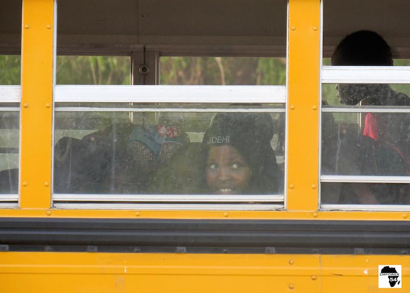 Children on bus site