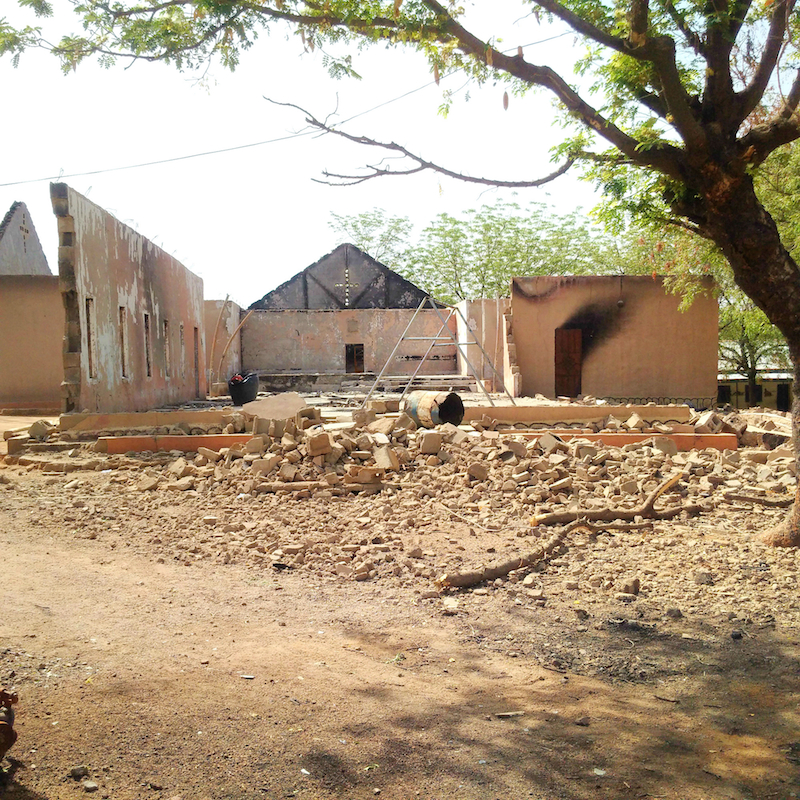 Church destoryed with bombs and petrol site