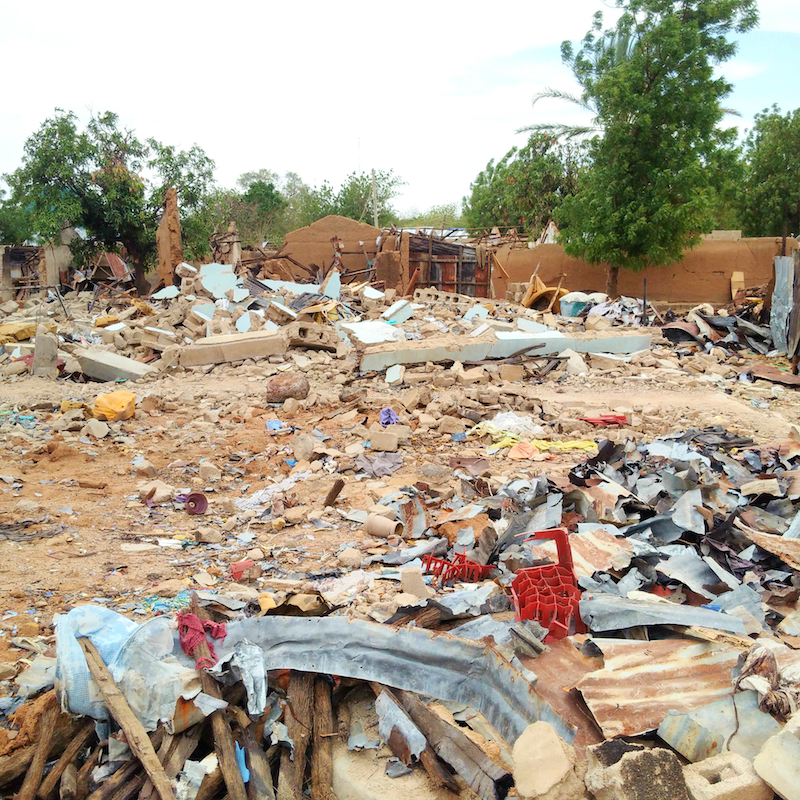 Communities leveled down by Boko Haram site