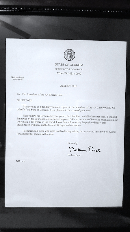 Letter from Governor of Georgia Nathan Deal