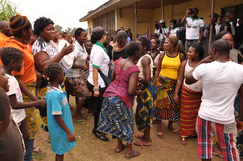 Modupe and Juliet Ugwoke dancing with the women
