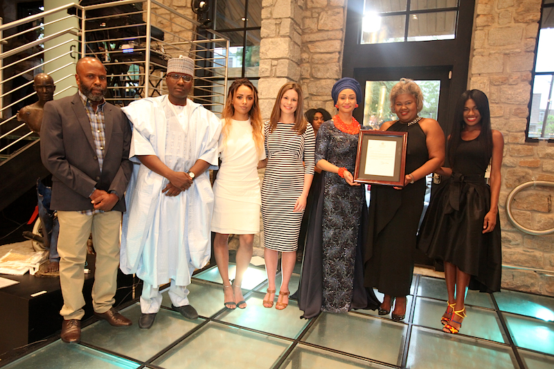 Mr Hassan, Isa Gusau, Kat Graham, Claire Angelle, Modupe Ozolua, Val Price Littleton and Christiana Torere presenting letter from Gov of Georgia