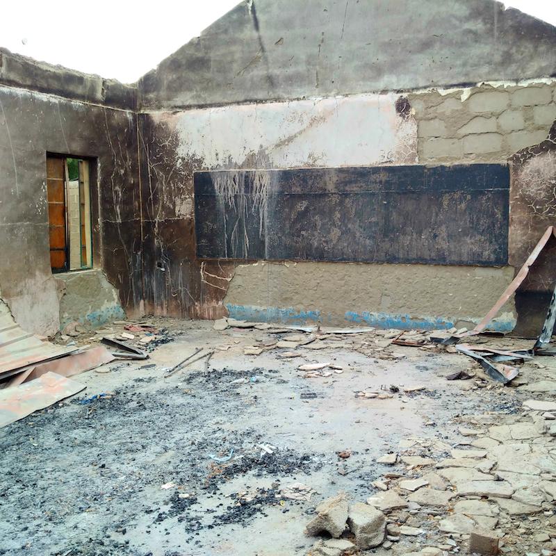 Para Primary and Nursery school, Askira, Uba, Borno State, class room burnt site