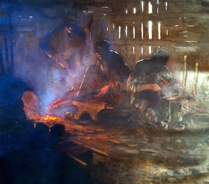 Tega Akpokoma, The Blacksmith Series Oil on Canvas 35x38 site