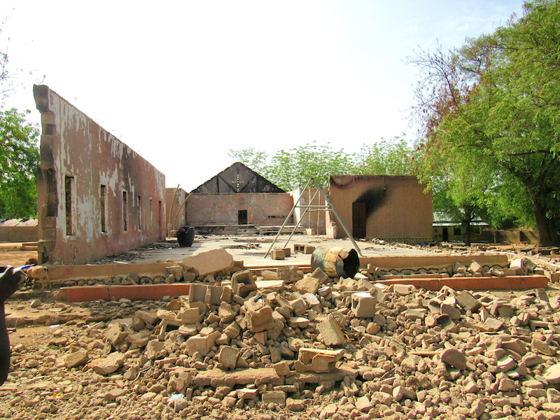 destroyed church in Uba site