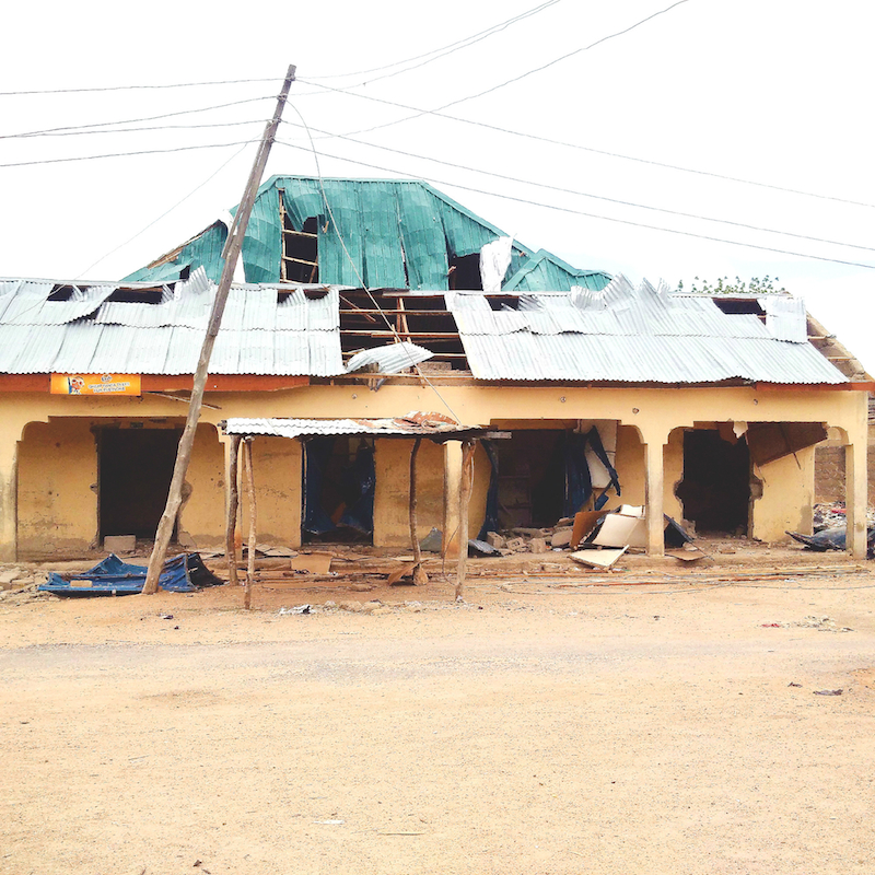 shops blown up by bombs and vandalised, Uba site