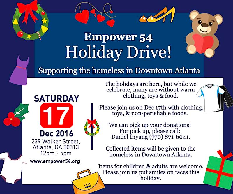 Join our Holiday Drive on Dec 17th to support the homeless in ATL