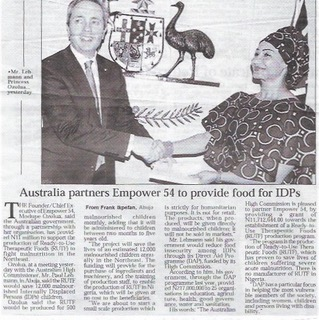 Australia partners Empower 54 to provide food for IDPs